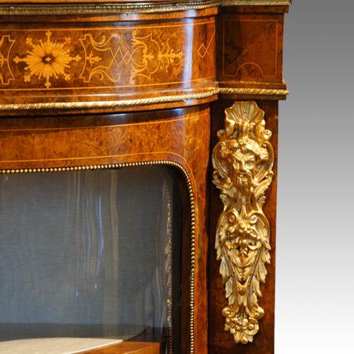 Victorian inlaid burr walnut credenza end mount