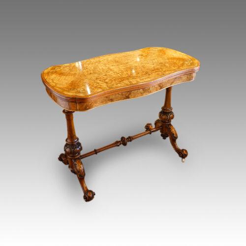 Victorian inlaid walnut serpentine card table