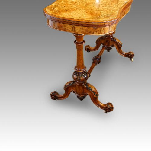 Victorian inlaid walnut serpentine card table end view