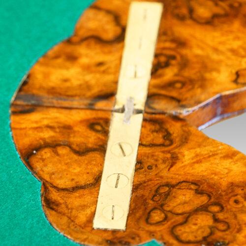 Victorian inlaid walnut serpentine card table hinge