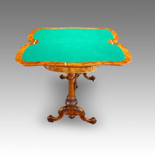 Victorian inlaid walnut serpentine card table open