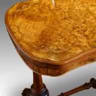 Victorian inlaid walnut serpentine card table top view