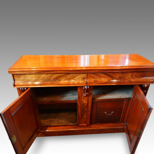 Victorian mahogany chiffonier sideboard cupboards open