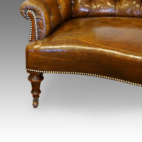 Victorian small leather settee arm and leg