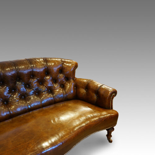 Victorian small leather settee detail