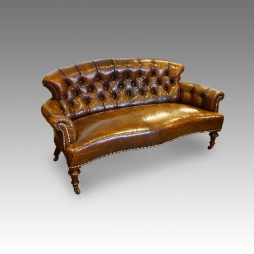Victorian small leather settee detail front
