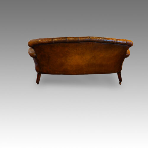 Victorian small leather settee rear