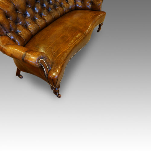 Victorian small leather settee side