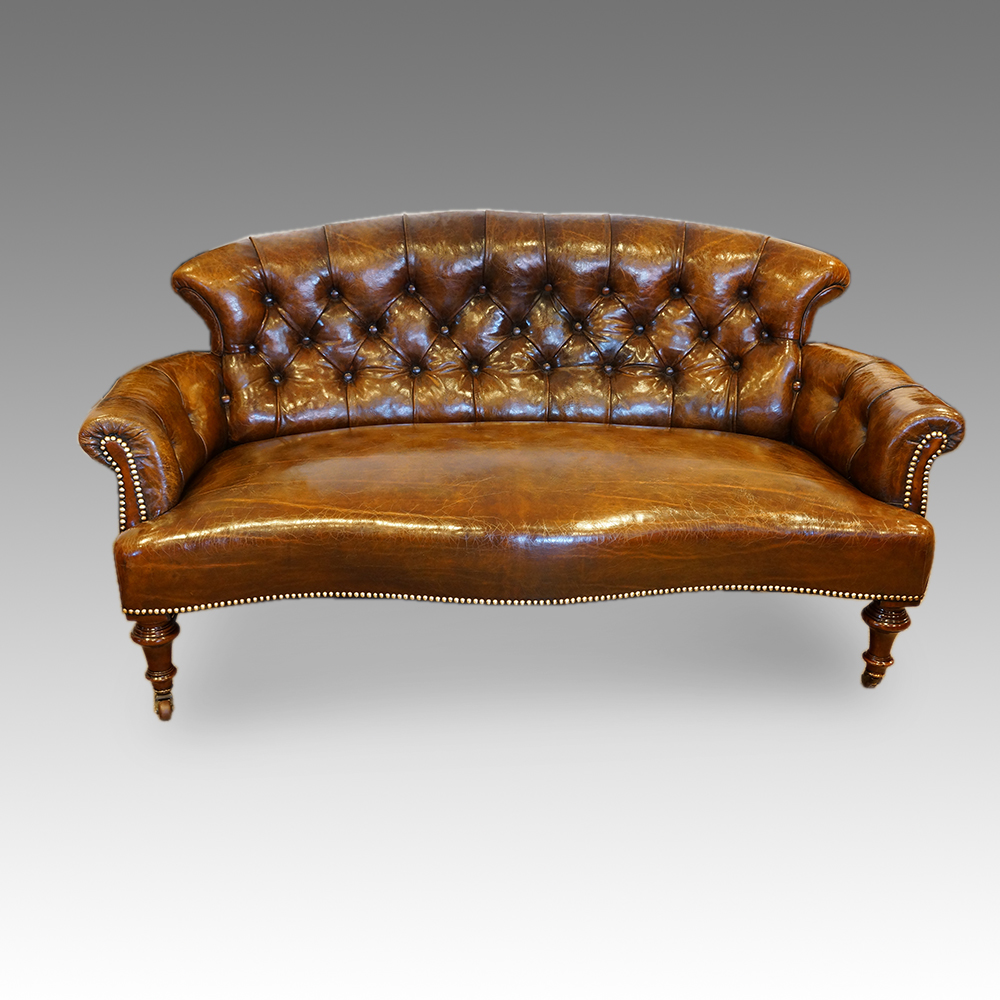 Victorian Small Leather Library Sofa