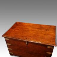 Victorian teak brass bound military trunk top