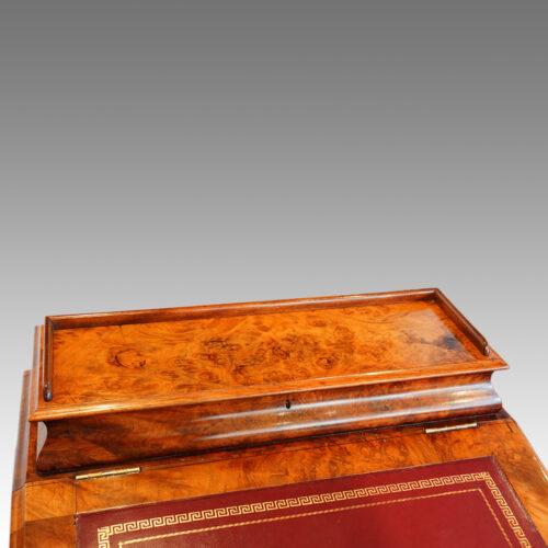 Victorian walnut Davenport with side door lid down