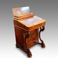 Victorian walnut Davenport with side door stationery box