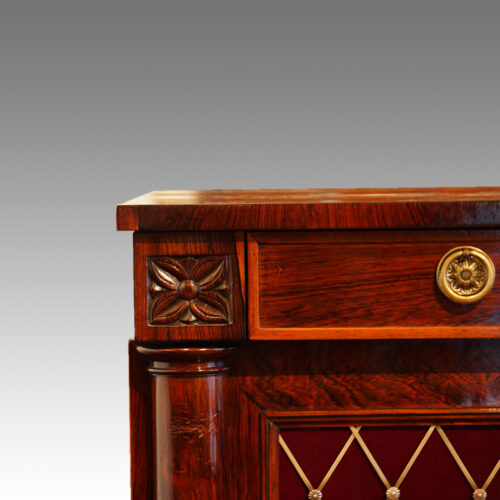 William IV rosewood side cabinet with one drawer detail
