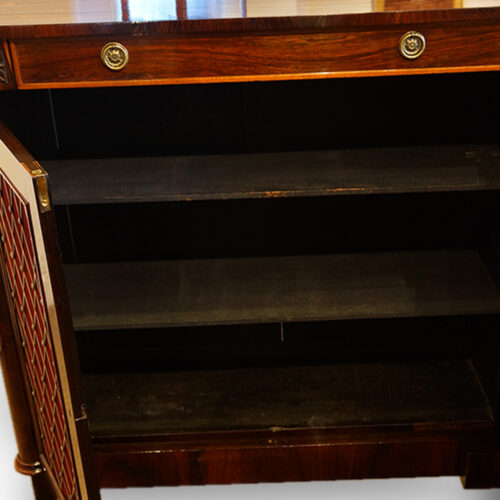 William IV rosewood side cabinet with one drawer interior