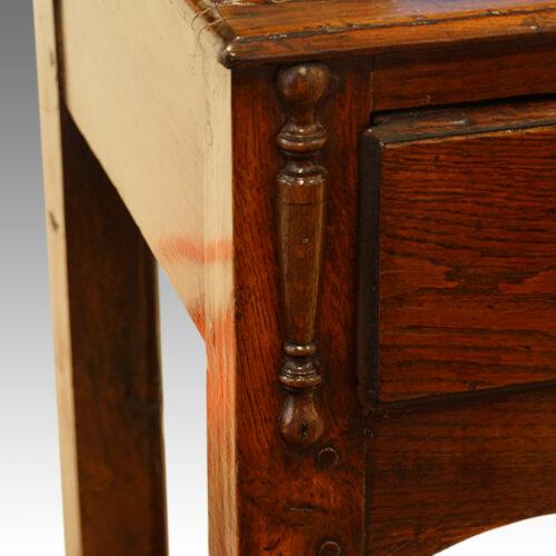 Antique oak narrow potboard dresser base applied turning