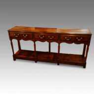Antique oak narrow potboard dresser base front