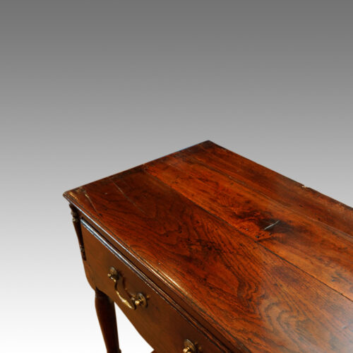Antique oak narrow potboard dresser base top end view