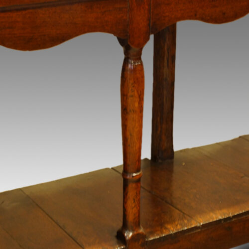 Antique oak narrow potboard dresser base turned leg