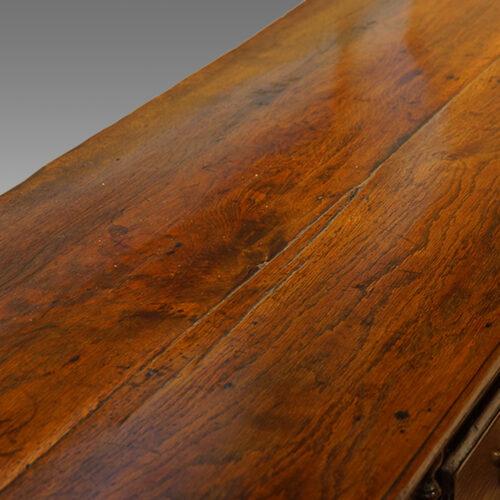 Antique oak narrow potboard dresser base detail top