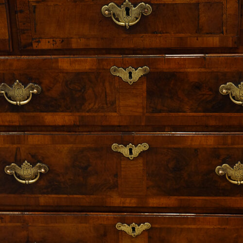 Queen Anne walnut and oak chest front