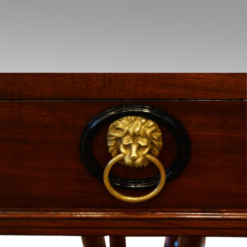 Regency mahogany workbox lion ring handle