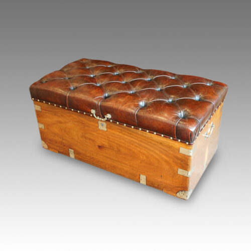Victorian camphorwood and leather ottoman top