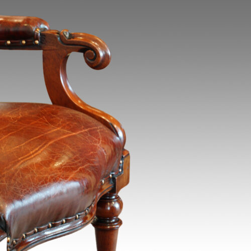 Victorian turned leg leather reading chair arm