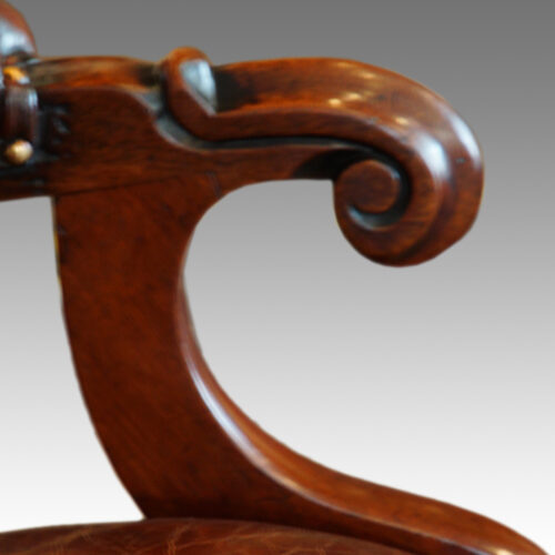 Victorian turned leg leather reading chair arm detail