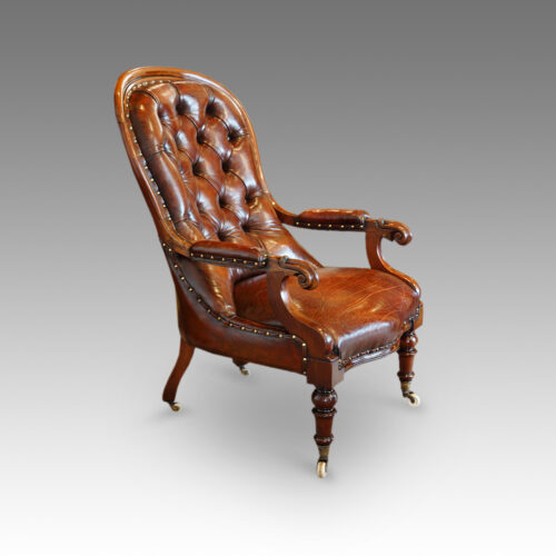 Victorian turned leg leather reading chair side