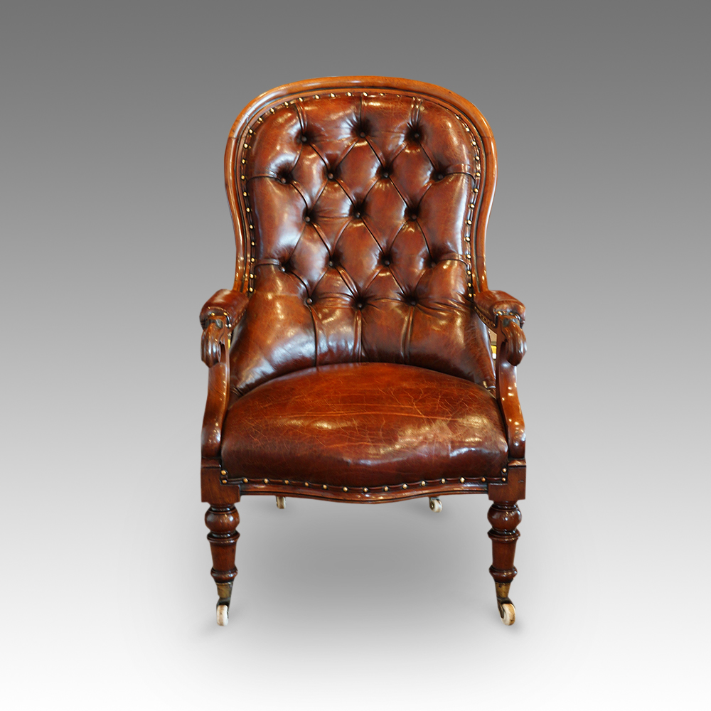 - Victorian Turned Leg Leather Reading Chair - Hingstons Antiques Dealers