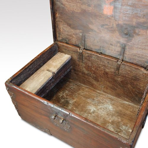 Antique Colonial trunk with iron lock plate interior