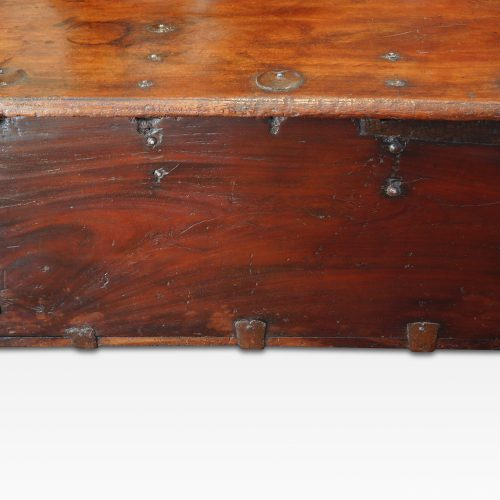Antique Colonial trunk with iron lock plate rear