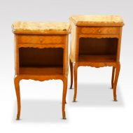 Pair of French walnut inlaid marble top bedside cabinets