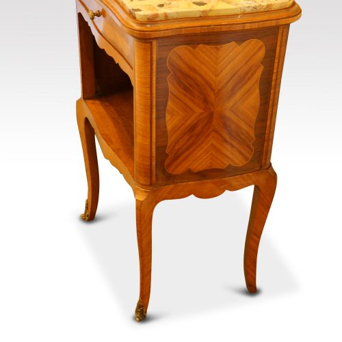Pair of French walnut inlaid marble top bedside cabinets angle view