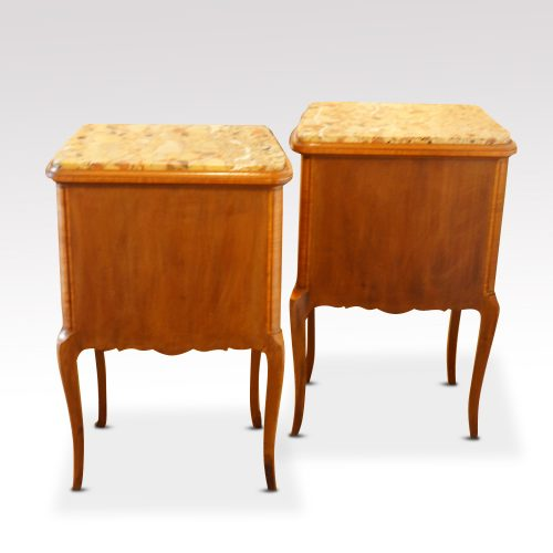 Pair of French walnut inlaid marble top bedside cabinets rear