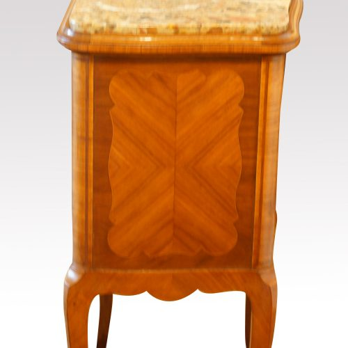 Pair of French walnut inlaid marble top bedside cabinets side detail