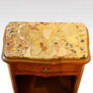 Pair of French walnut inlaid marble top bedside cabinets top