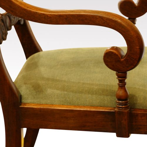 Set of 8 William IV mahogany dining chairs scroll arm