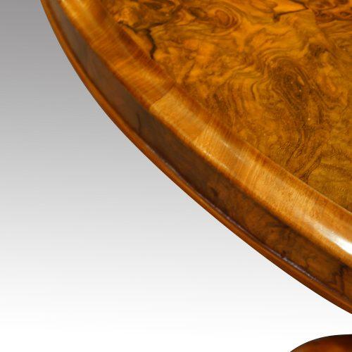 Victorian burr walnut coffee table edge