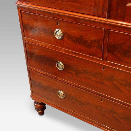 Victorian mahogany press wardrobe base detail