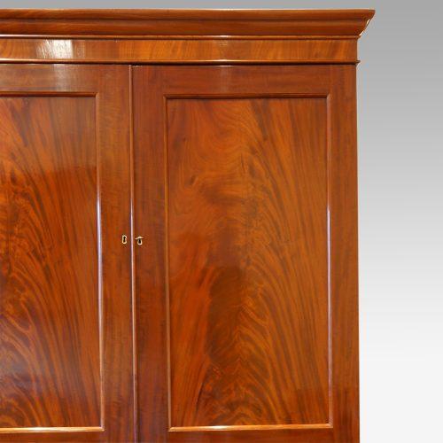Victorian mahogany press wardrobe door detail