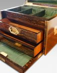 Antique Coralmandel wood fitted box all drawers open