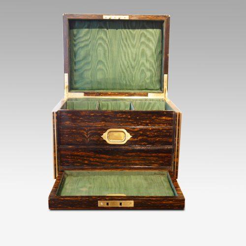 Antique Coralmandel wood fitted box interior