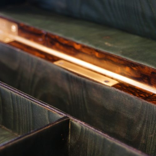 Antique Coralmandel wood fitted box sercet drawer release