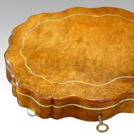 Antique French shaped walnut box detail