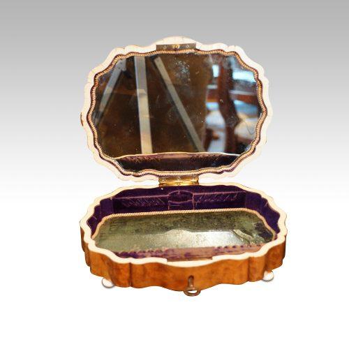 Antique French shaped walnut box interior