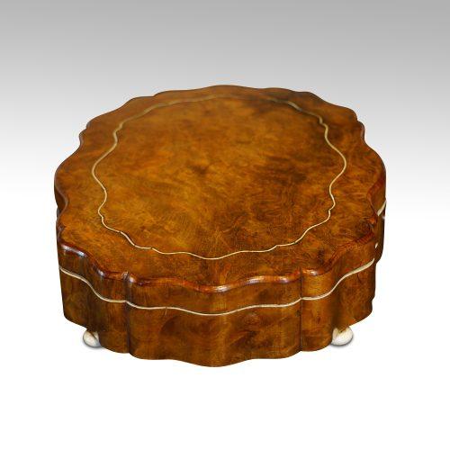 Antique French shaped walnut box side