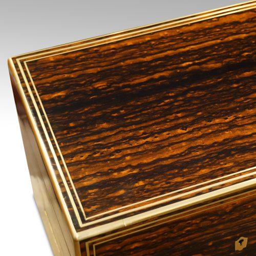 Antique coromandel fitted box top detail