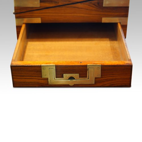 Antique kingwood writing slope drawer open