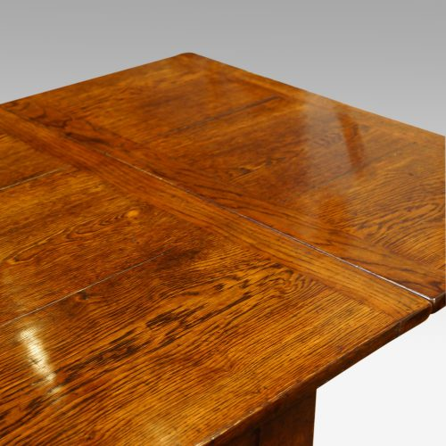 Custom made oak refectory dining table leaf out